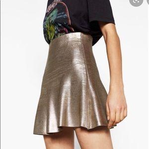 Zara Knit Gold Foil Metallic Mini Skirt medium M